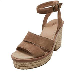 UGG Carine Suede Sandals Rope Wedge